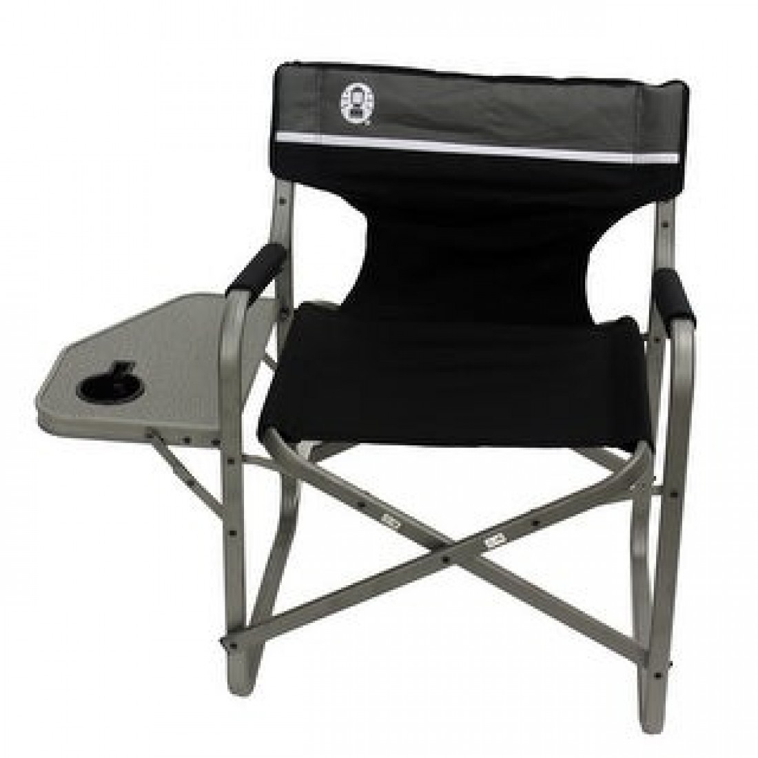 Coleman Aluminum Deck Chair with Table (Black)