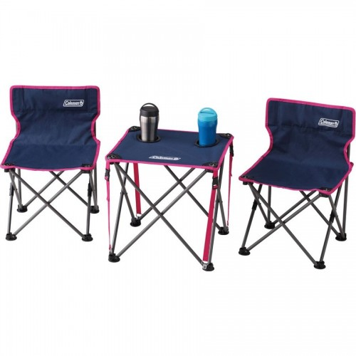 COLEMAN TABLE & CHAIRS SET STEEL NAVY