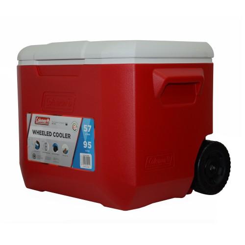 Coleman 60QT Wheeled Cooler Box - Red