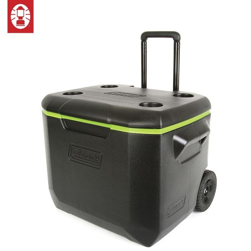 COLEMAN 60QT WHEELED COOLER BOX - Black/Green