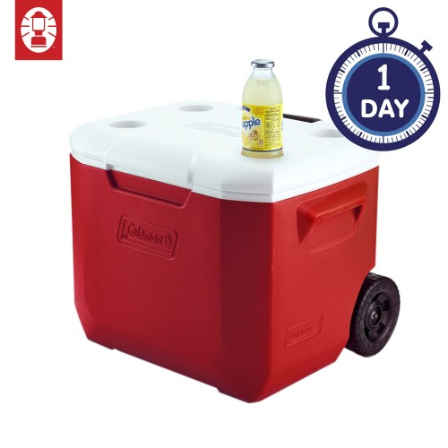 Coleman 60QT Wheeled Cooler Box - Red