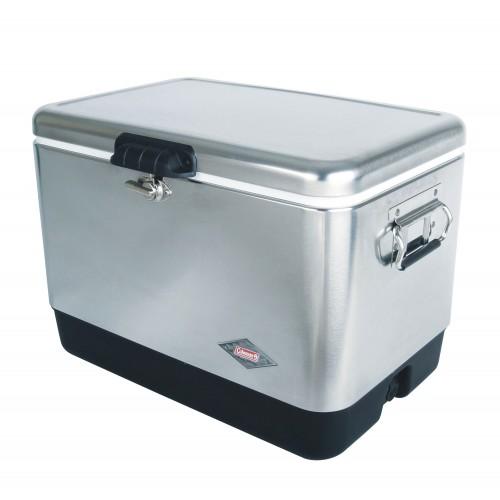 Coleman 54QT / 51L Stainless Steel Belted Vintage Cooler Box (Silver)