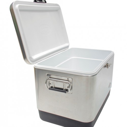 Coleman 54QT / 51L Stainless Steel Belted Vintage Cooler Box (Silver)